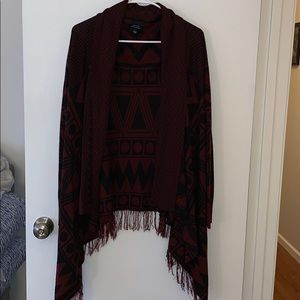 Sweaters - Maroon and black Aztec print cardigan